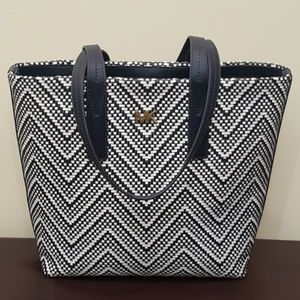 Michael Kors Tote Bag Navy White Leather
